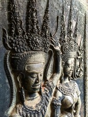 Bas-relief at the Angkor Wat. Siem Reap, Cambodia.