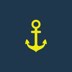 Green icon of Anchor on dark blue background. Eps.10