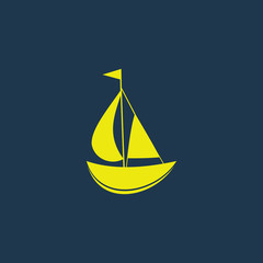 Green icon of Sail Boat on dark blue background. Eps.10