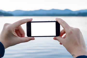 Smartphone at Lake in Oregon