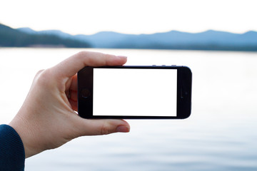 Smartphone at Lake in Oregon