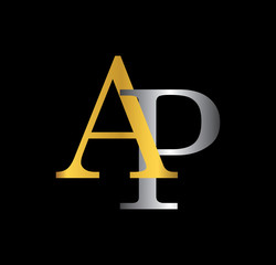 AP initial letter with gold and silver
