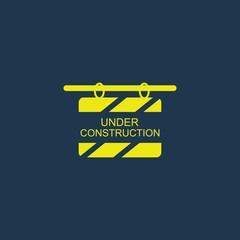 Yellow icon of Under Construction Billboard on dark blue background. Eps.10