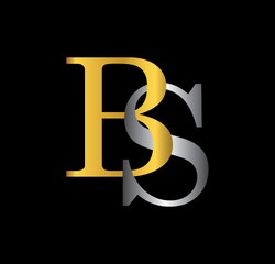 BS initial letter with gold and silver