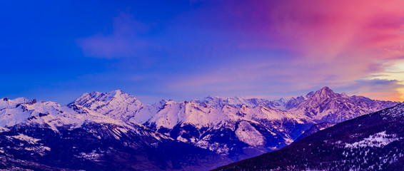 Photo sur Plexiglas Bleu fonce Swiss mountains at sunrise, Diableretes and Jungfrau - Swiss Alps, the region Vallis