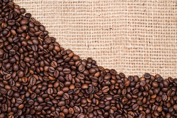 Coffee bean background design with gunny textile