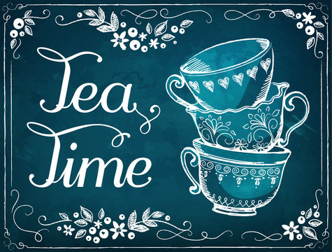 Invitation to the tea party. Retro illustration Tea Time with cute cups