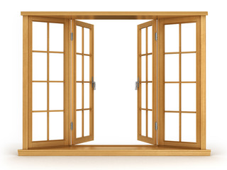 Wooden open window isolated on white background
