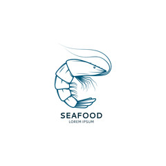 Seafood logo with shrimp. Vector shrimp sketch for your design.