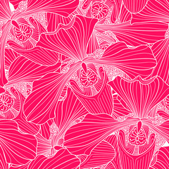 Pink and white orchid flower seamless pattern