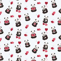 Pandas, love, hearts.