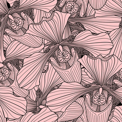Pink and brown orchid flower seamless pattern