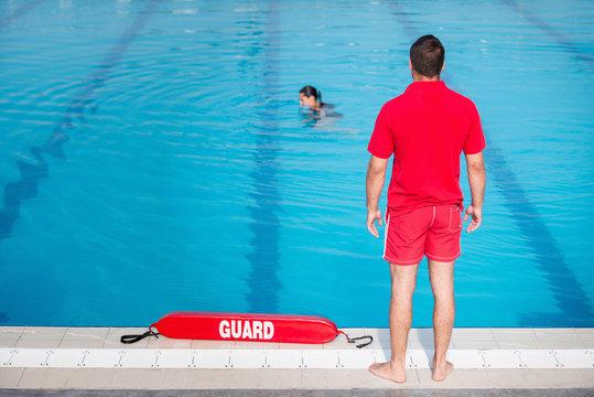Poolside lifeguard