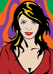 visage pop art d'une jeune femme
