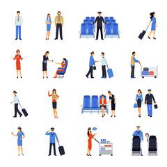 Pilot And Stewardess Flat Icons Set