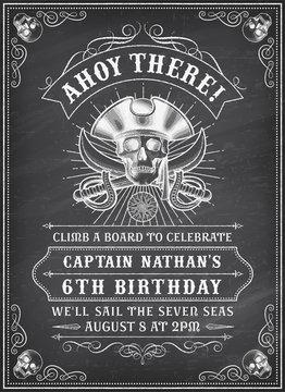 Chalkboard Death Pirate Invite 2