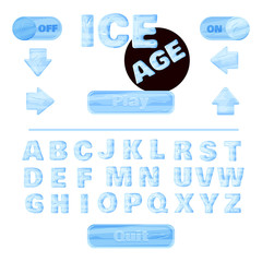 colorful of stylized under the ice alphabets for children's education or use for headings in online games, browser-based and mobile applications. Vector. Winter font.