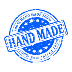 Scratched blue round stamp with the inscription - hand made - vector svg