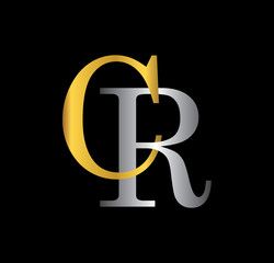 CR initial letter with gold and silver