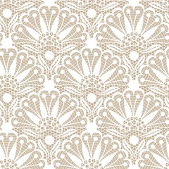 Seamless flower lace pattern on beige background