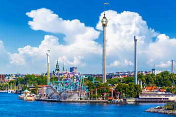 Poster Attraction parc Amusement park Grona Lund on Djurgarden island in Stockholm, Swe
