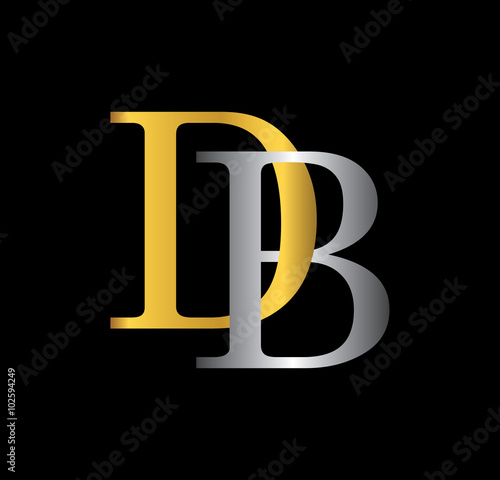 db initial letter with gold and silver stock image and royalty free