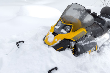 Snowmobile in snow.