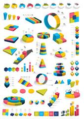 Collections of infographics 3D design diagrams. Various color templates, charts, schemes, boxes, pie graphs, bubbles for print or web design. Vector illustration.