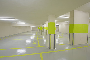 Underground car park with columns