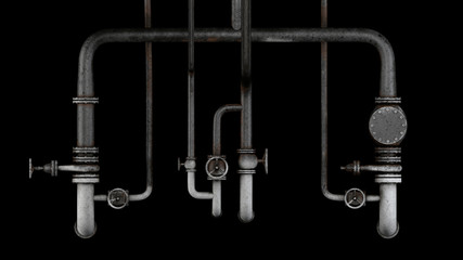 Set of old, rusty pipes and valves isolated on black background