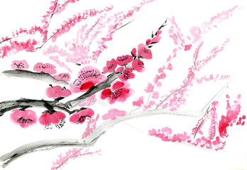 Plum blossom. Picture in east style by India ink, sumi-e.