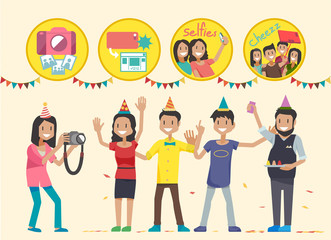 Shooting in the party.How to take pictures in the party.People Poses at a party.The people in party.Illustration for idea of party.Approach to communication for party.Graphic design and vector EPS 10.