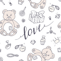 Valentines day seamless pattern with LOVE hand drawn sign