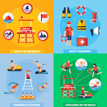 Lifeguard 4 Flat Icons Square Composition