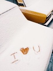 I love you Valentine's day on snow
