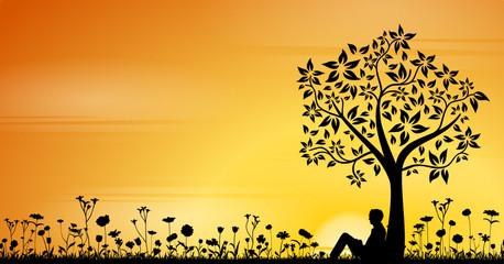 Mann und Blumenwiese