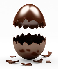 Broken Chocolate Easter egg isolated on a white background