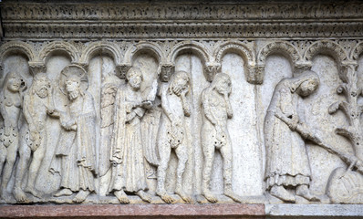 Stone sculptures on the exterior of the Cathedral in Modena (Ita