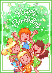 Greeting birthday card with a happy kids.