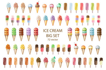 Ice Cream mega set. 72  vector illustrations.