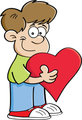 Cartoon illustration of a boy holding a heart.