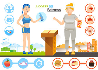 Diet concept.The choice women between Slim or Fat.Characteristic of fat and slim.Illustration for idea and approach to communication for advertise Health.Graphic design and vector EPS 10.