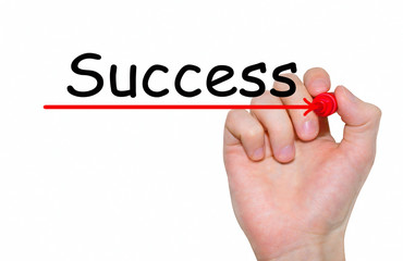 """Hand writing inscription """"Success"""" with marker, concept"""