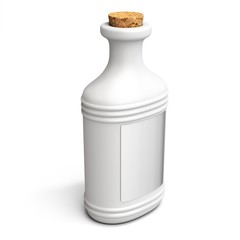 3d white potion bottle with cork screw