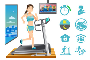 Woman use treadmill in the house.Modern lifestyle in city.Basic icon for fitness in your house.The evening exercise.Illustration for advertise exercise.Graphic design and vector EPS 10.