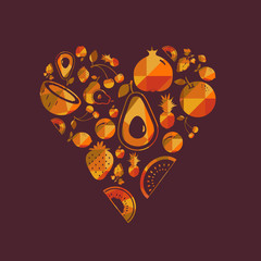 Vector colorful fruit heart.