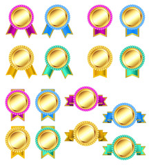 set of rosette golden badges with ribbons. vector
