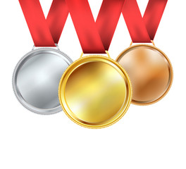 set of medals with red ribbon on white. vector