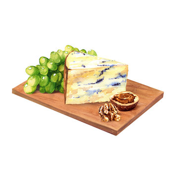 cheese with grape and walnuts on wooden board
