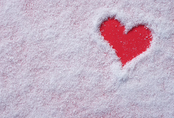 Snow background inside a red heart. Happy Valentines day. love concept